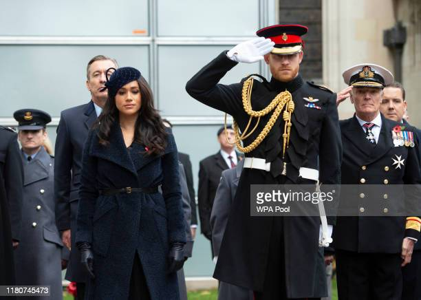 Prince Harry, Duke of Cambridge and Meghan, Duchess of Sussex meet veterans and soldiers as they attend the 91st Field of Remembrance at Westminster...