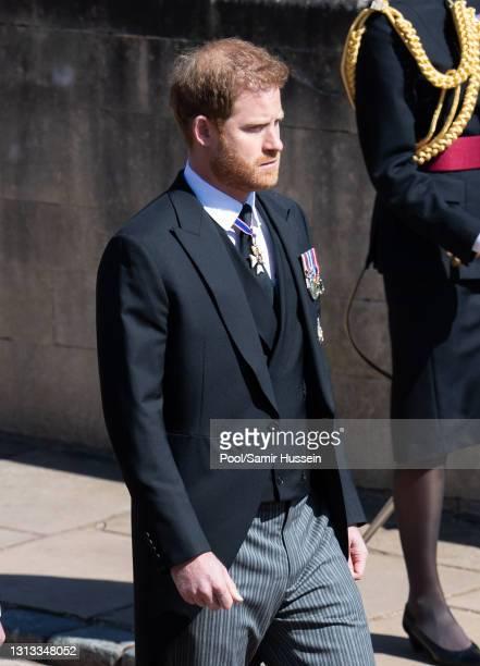 Prince Harry, Duke of Edinburgh during the funeral of Prince Philip, Duke of Edinburgh on April 17, 2021 in Windsor, England. Prince Philip of Greece...