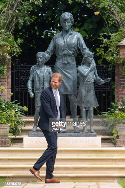 Prince Harry, Duke of Sussex after unveiling a statue of his mother Diana, Princess of Wales, in the Sunken Garden at Kensington Palace, on what...
