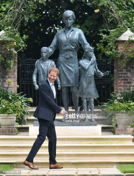 Prince Harry, Duke of Sussex after unveiling a statue of their mother Diana, Princess of Wales, in the Sunken Garden at Kensington Palace, on what...