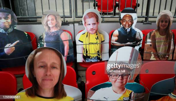 Prince Harry, Duke of Sussex among the cardboard cut out fans during the Sky Bet League One Play Off Final between Oxford United and Wycombe...
