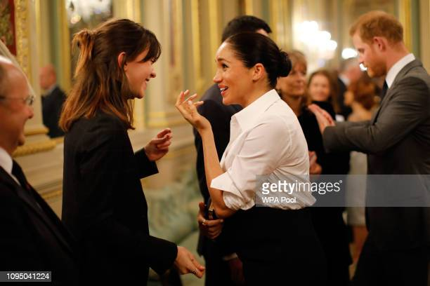 Prince Harry Duke of Sussex and Britain's Meghan Duchess of Sussex meet guests preceremony reception as they attend the annual Endeavour Fund Awards...