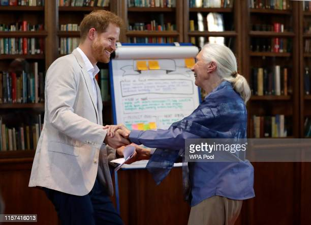 Prince Harry, Duke of Sussex and Dr Jane Goodall hold hands as he attends Dr. Jane Goodall's Roots & Shoots Global Leadership Meeting at Windsor...