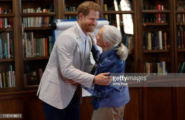 Prince Harry, Duke of Sussex and Dr Jane Goodall hug as he attends Dr. Jane Goodall's Roots & Shoots Global Leadership Meeting at Windsor Castle on...