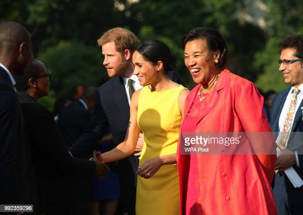 Prince Harry Duke of Sussex and Meghan Duchess of Sussex accompanied by Commonwealth secretary general Baroness Scotland attend the Your Commonwealth...