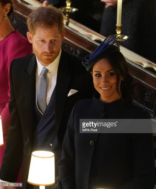 Prince Harry Duke of Sussex and Meghan Duchess of Sussex ahead of the wedding of Princess Eugenie of York and Mr Jack Brooksbank at St George's...