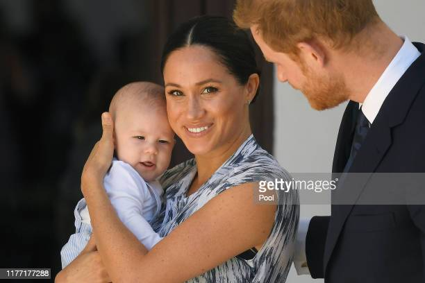 Prince Harry Duke of Sussex and Meghan Duchess of Sussex and their baby son Archie MountbattenWindsor at a meeting with Archbishop Desmond Tutu at...