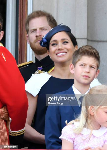 Prince Harry, Duke of Sussex and Meghan, Duchess of Sussex appear on the balcony during Trooping The Colour, the Queen's annual birthday parade, on...