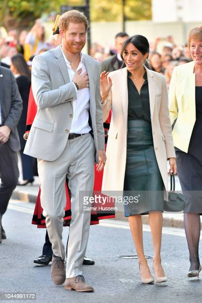 Prince Harry Duke of Sussex and Meghan Duchess of Sussex arrive at Edes House in Chichester during an official visit to Sussex on October 3 2018 in...