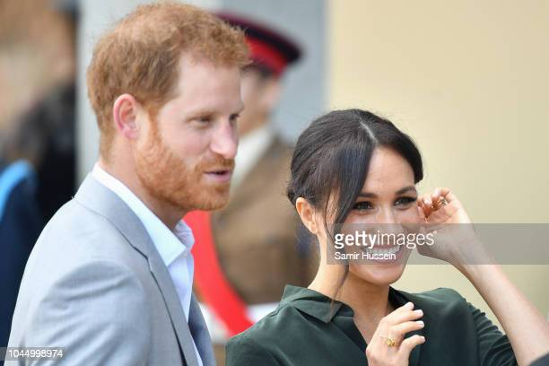 Prince Harry, Duke of Sussex and Meghan, Duchess of Sussex arrive at the University of Chichester's Engineering and Digital Technology Park during an...