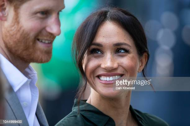 Prince Harry Duke of Sussex and Meghan Duchess of Sussex arrive at the University of Chichester's Engineering and Digital Technology Park during an...