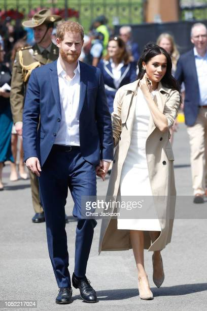Prince Harry Duke of Sussex and Meghan Duchess of Sussex arrive at Man O'War Steps on October 16 2018 in Sydney Australia The Duke and Duchess of...