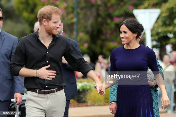 Prince Harry, Duke of Sussex and Meghan, Duchess of Sussex arrive at the public walkabout at the Rotorua Government Gardens on October 31, 2018 in...