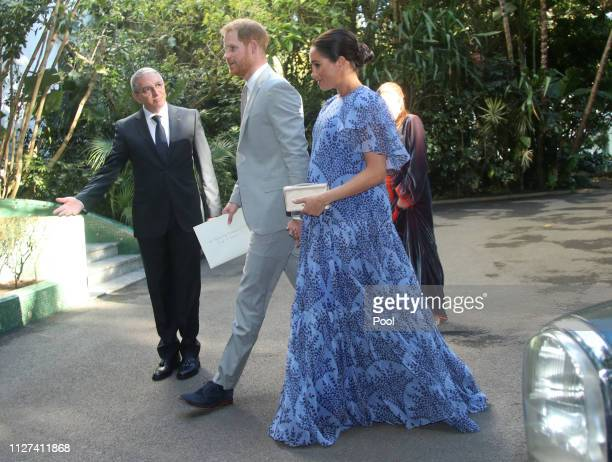 Prince Harry Duke of Sussex and Meghan Duchess of Sussex arrive at the residence of King Mohammed VI of Morocco ahead of an audience with him in...