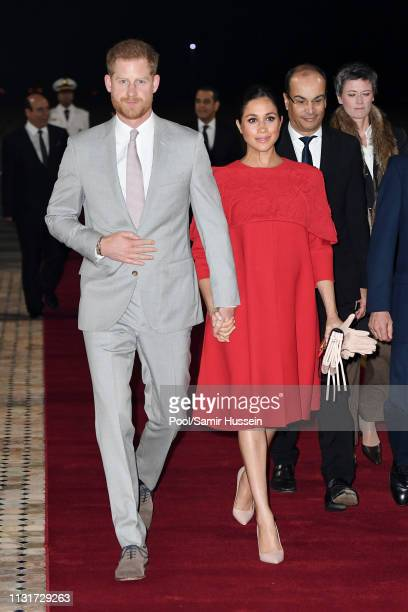 Prince Harry Duke of Sussex and Meghan Duchess of Sussex arrive at Casablanca airport on February 23 2019 in Casablanca Morocco