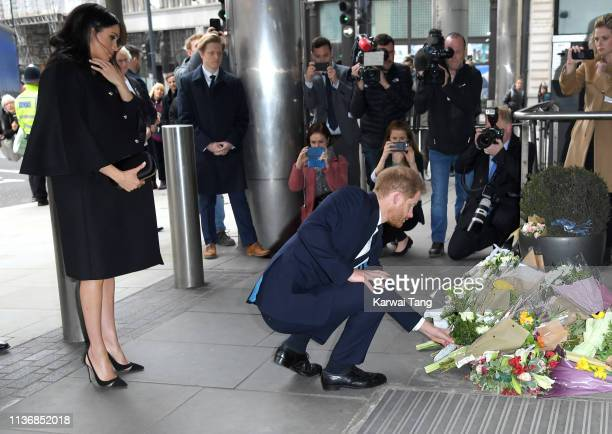 Prince Harry Duke of Sussex and Meghan Duchess of Sussex arrive at New Zealand House to sign the book of condolence after the recent terror attack...
