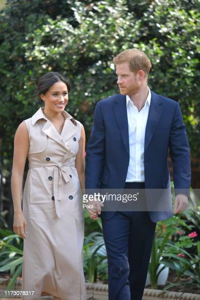 Prince Harry, Duke of Sussex and Meghan, Duchess of Sussex arrive at the Creative Industries and Business Reception at the British High Commissioners...