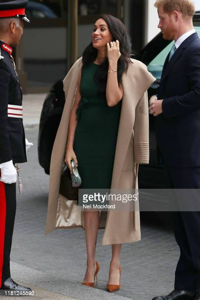Prince Harry, Duke of Sussex and Meghan, Duchess of Sussex arrive at the WellChild awards at Royal Lancaster Hotel on October 15, 2019 in London,...