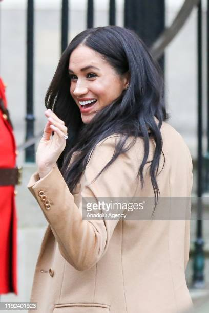 Prince Harry, Duke of Sussex and Meghan, Duchess of Sussex arrive at Canada House in London, United Kingdom on January 7, 2020 and are greeted by...