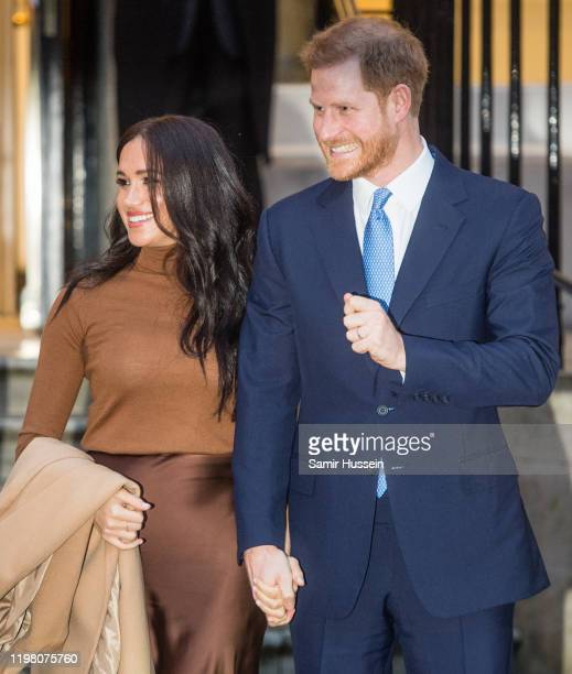 Prince Harry Duke of Sussex and Meghan Duchess of Sussex arrive at Canada House on January 07 2020 in London England