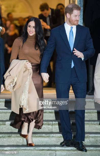 Prince Harry, Duke of Sussex and Meghan, Duchess of Sussex arrive at Canada House on January 07, 2020 in London, England.