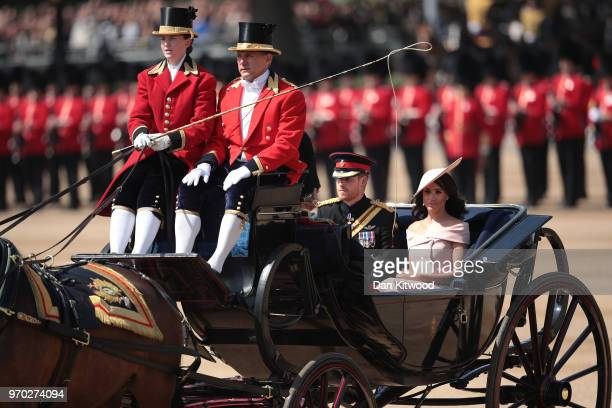 Prince Harry Duke of Sussex and Meghan Duchess of Sussex arrive at The Royal Horseguards during Trooping The Colour ceremony on June 9 2018 in London...
