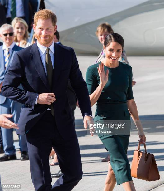 Prince Harry, Duke of Sussex and Meghan, Duchess of Sussex arrive at Dublin Airport during their visit to Ireland on July 10, 2018 in Dublin, Ireland.