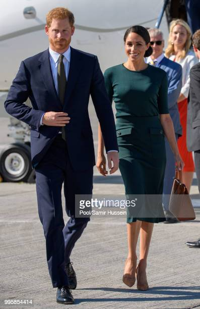 Prince Harry Duke of Sussex and Meghan Duchess of Sussex arrive at Dublin airport during their visit to Ireland on July 10 2018 in Dublin Ireland