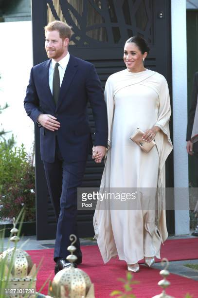 Prince Harry Duke of Sussex and Meghan Duchess of Sussex arrive for a reception hosted by the British Ambassador to Morocco at the British Residence...