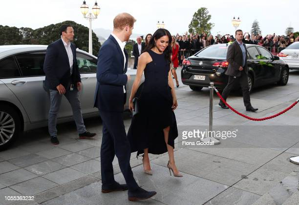 Prince Harry Duke of Sussex and Meghan Duchess of Sussex arrive for Prime Minister Jacinda Ardern's reception at Auckland War Memorial Museum on...