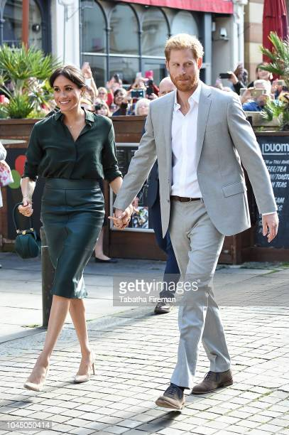 Prince Harry Duke of Sussex and Meghan Duchess of Sussex arrive in Brighton during an official visit to Sussex on October 3 2018 in Brighton United...