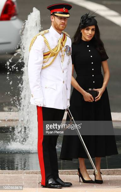 Prince Harry Duke of Sussex and Meghan Duchess of Sussex arrive to attend the Official opening of ANZAC Memorial at Hyde Park on October 20 2018 in...