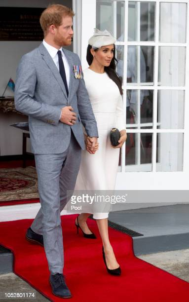 Prince Harry Duke of Sussex and Meghan Duchess of Sussex arrive to meet President of Fiji Jioji Konrote on the first day of their tour to Fiji on...