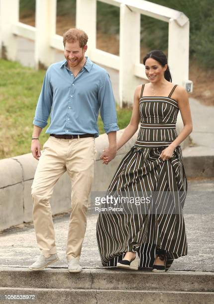 Prince Harry Duke of Sussex and Meghan Duchess of Sussex arrive to talk to OneWave members a local surfing community group raising awareness for...