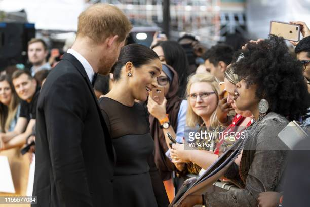"""Prince Harry, Duke of Sussex and Meghan, Duchess of Sussex arrive to attend the European Premiere of Disney's """"The Lion King"""" at Odeon Luxe Leicester..."""
