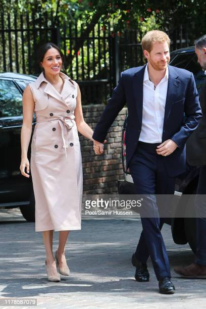 Prince Harry, Duke of Sussex and Meghan, Duchess of Sussex arrive to meet Graca Machel, widow of the late Nelson Mandela on October 02, 2019 in...
