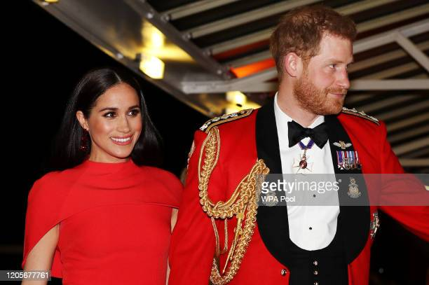 Prince Harry Duke of Sussex and Meghan Duchess of Sussex arrive to attend the Mountbatten Music Festival at Royal Albert Hall on March 7 2020 in...