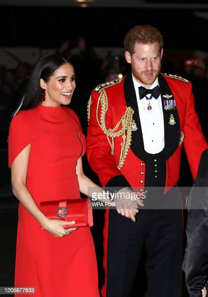 Prince Harry, Duke of Sussex and Meghan, Duchess of Sussex arrive to attend the Mountbatten Music Festival at Royal Albert Hall on March 7, 2020 in...