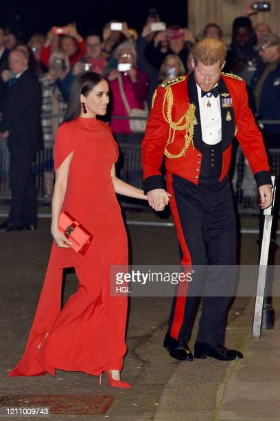 Prince Harry, Duke of Sussex and Meghan, Duchess of Sussex arrive to attend the Mountbatten Music Festival at Royal Albert Hall on March 07, 2020 in...