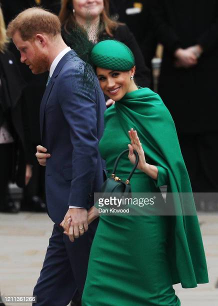 Prince Harry Duke of Sussex and Meghan Duchess of Sussex arrive to attend the annual Commonwealth Day Service at Westminster Abbey on March 9 2020 in...