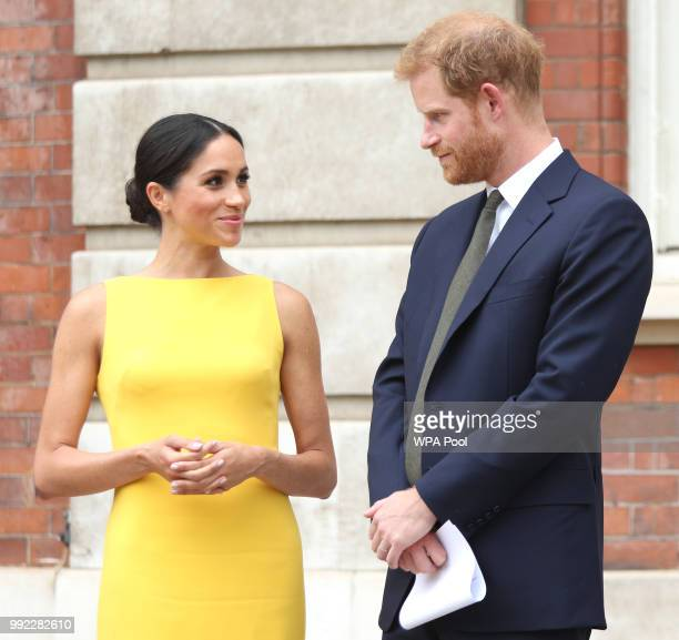 Prince Harry, Duke of Sussex and Meghan, Duchess of Sussex arrive to meet youngsters from across the Commonwealth as they attend the Your...