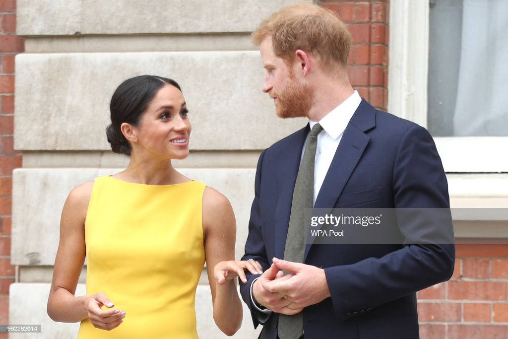 Prince Harry, Duke of Sussex and Meghan, Duchess of Sussex arrive to meet youngsters from across the Commonwealth as they attend the Your Commonwealth Youth Challenge reception at Marlborough House on July 05, 2018 in London, England.