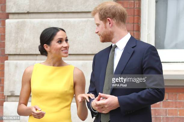 Prince Harry Duke of Sussex and Meghan Duchess of Sussex arrive to meet youngsters from across the Commonwealth as they attend the Your Commonwealth...