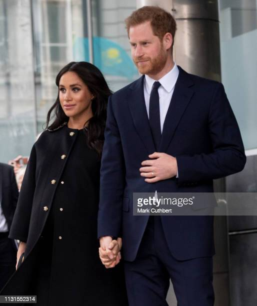 Prince Harry Duke of Sussex and Meghan Duchess of Sussex at New Zealand House on March 19 2019 in London England The visit was following the recent...