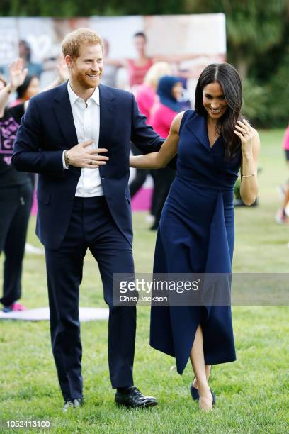 Prince Harry Duke of Sussex and Meghan Duchess of Sussex attend a reception at Government House on October 18 2018 in Melbourne Australia The Duke...