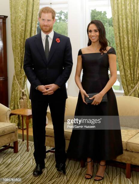 Prince Harry Duke of Sussex and Meghan Duchess of Sussex attend a reception at Government House on October 28 2018 in Wellington New Zealand The Duke...