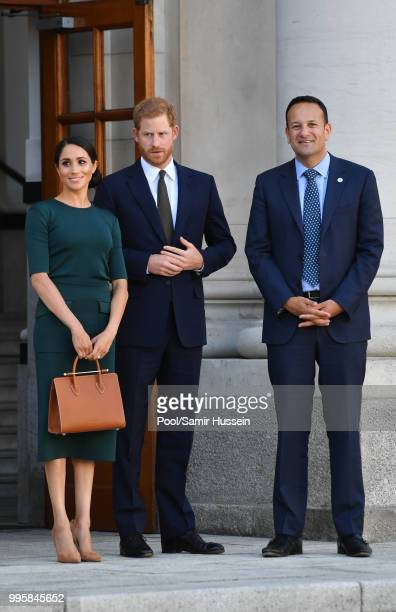 Prince Harry Duke of Sussex and Meghan Duchess of Sussex attend a meeting at the Taoiseach with Leo Varadkar during their visit to Ireland on July 10...