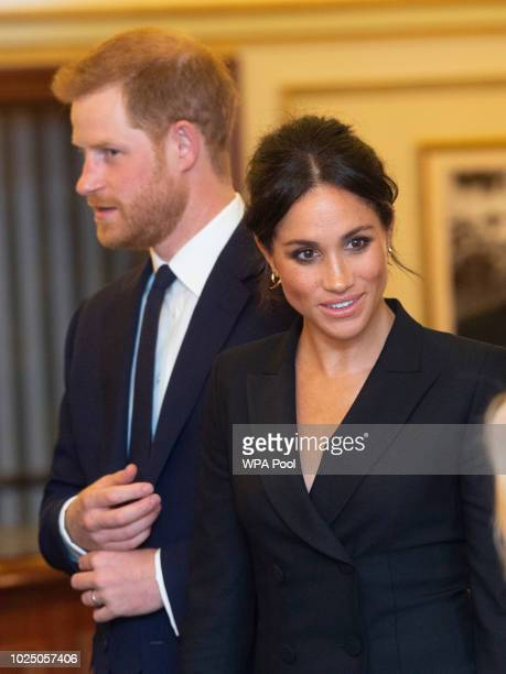 Prince Harry Duke of Sussex and Meghan Duchess of Sussex attend a gala performance of Hamilton in support of Sentebale at Victoria Palace Theatre on...