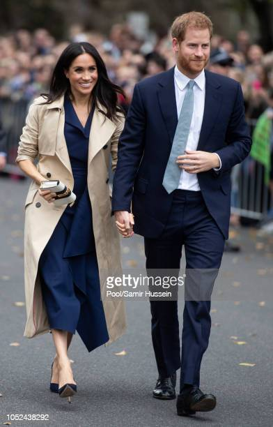 Prince Harry Duke of Sussex and Meghan Duchess of Sussex attend a public walk and greet at Government House on October 18 2018 in Melbourne Australia...