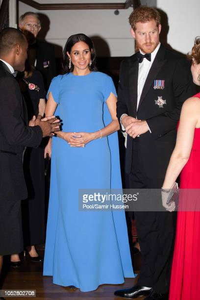 Prince Harry, Duke of Sussex and Meghan, Duchess of Sussex attend a state dinner hosted by the president of the South Pacific nation Jioji Konrote at...